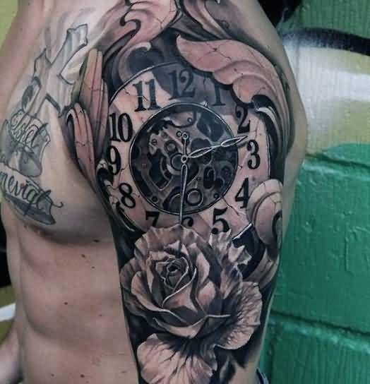 Flowers-And-Broken-Clock-Tattoo-On-Man-Left-Half-Sleeve.jpg ...