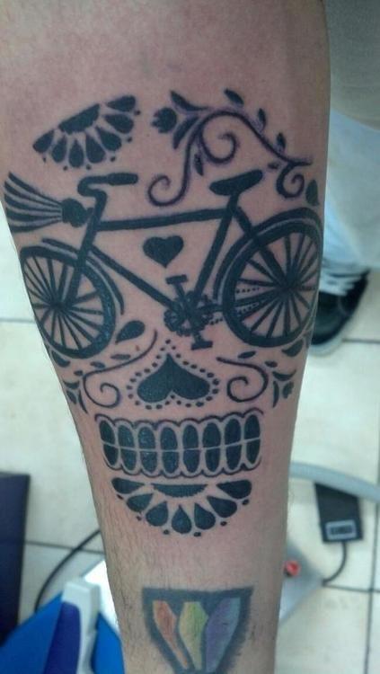 bicycle dia de los muertos skull tattoo