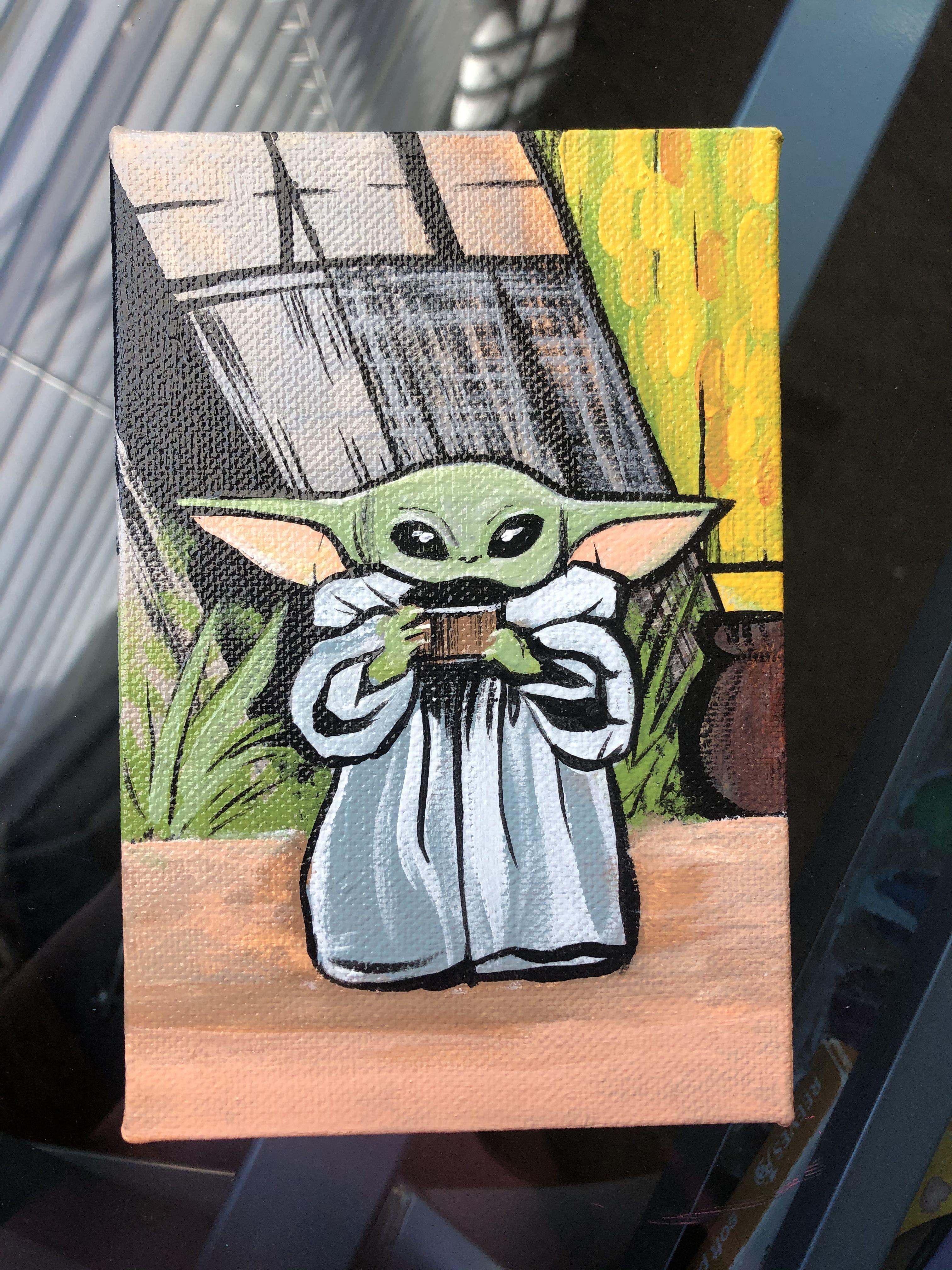 Baby Yoda Painting The Mandalorian Star Wars Disney Canvas Art Star Wars Art Painting Mini Canvas Art