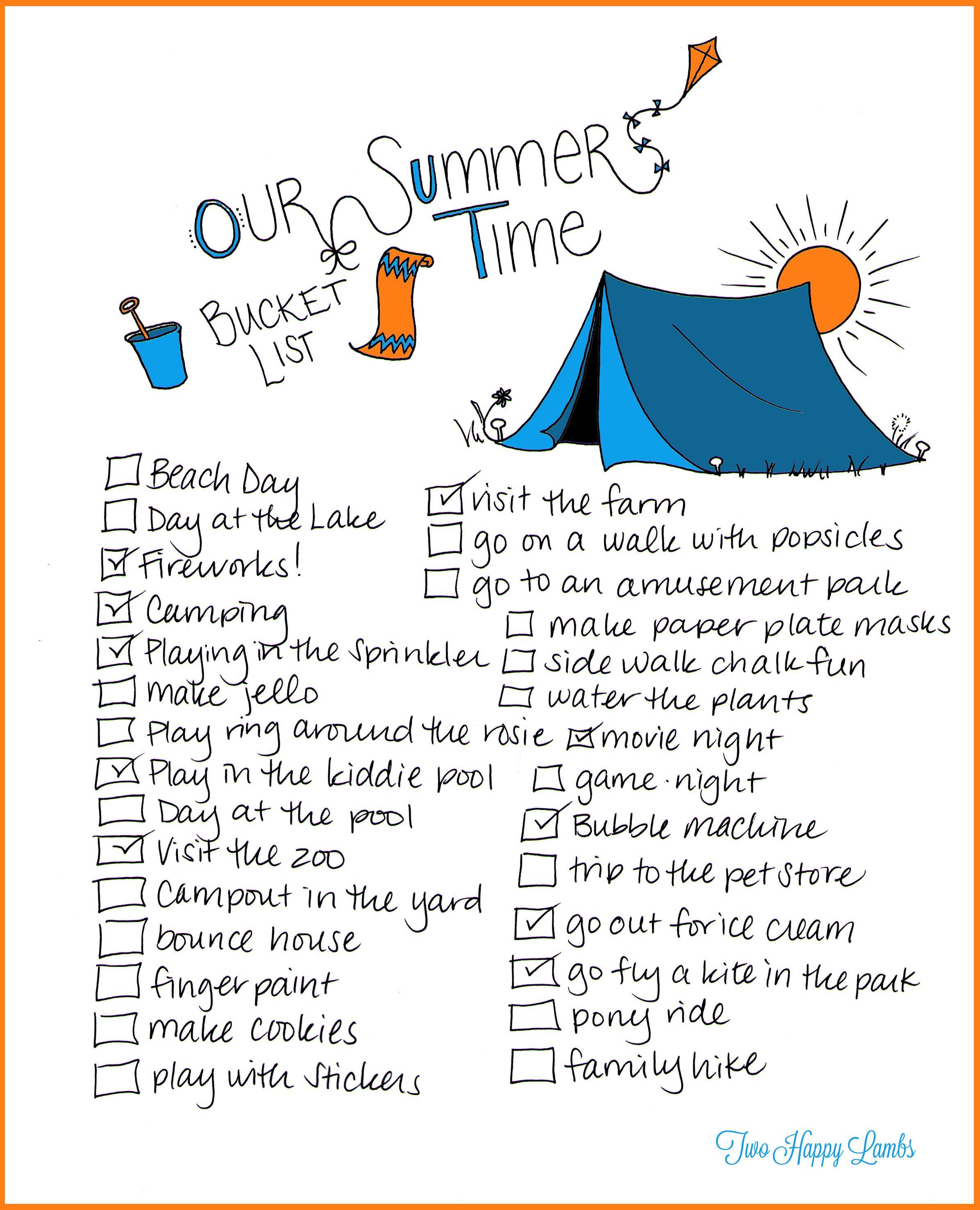Summer Bucket List Printable Worksheet