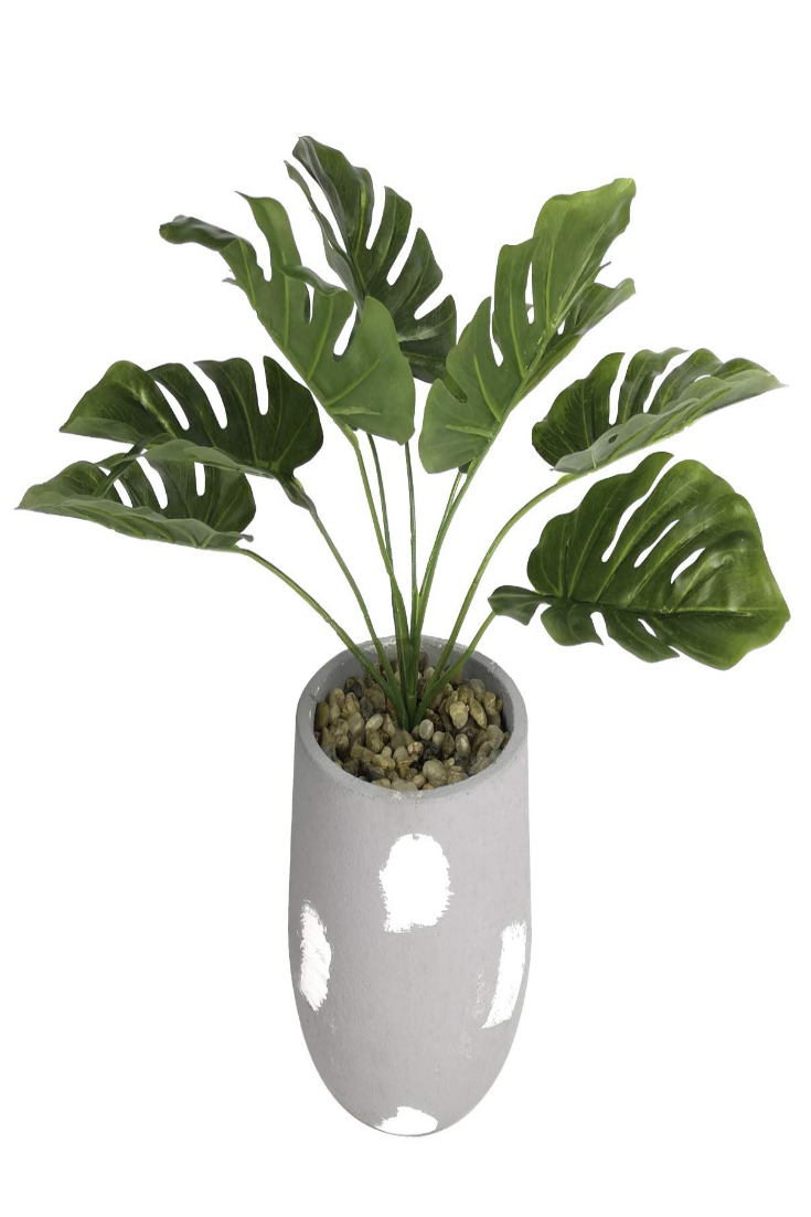 12 5 Tall Small Artificial Greenery Plants Palm Green Leaf In Cement Pots Potted Plants Outdoor Plants Fake Plants