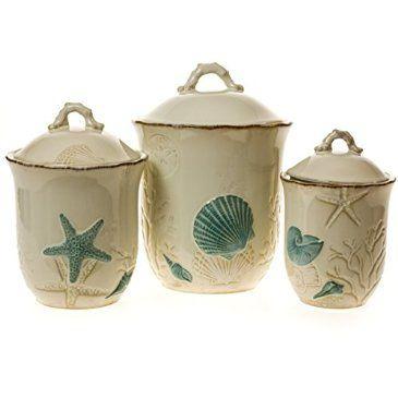 3 piece stoneware canister set for Kitchen decoration piece