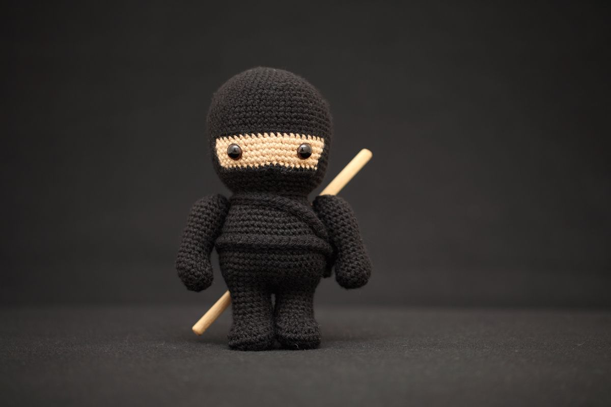 The Black Ninja Amigurumi | Fat Face & Me ༺✿ƬⱤღ✿༻