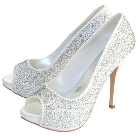 Sarah By Perfect Bridal Shoe Company White And Ivory Crystal Sparkly Wedding Or Occasion Shoes