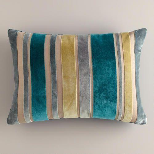 Green And Gray Stripe Velvet Lumbar Pillow Decor