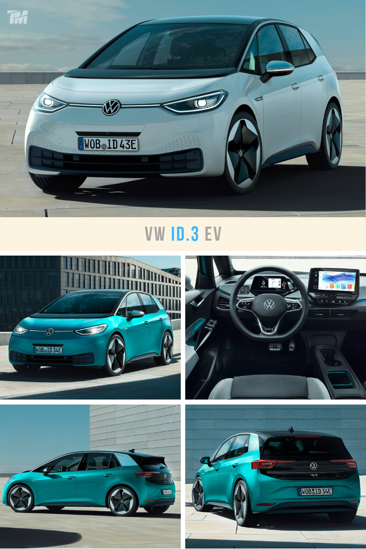 White Blue Volkswagen Id 3 Electric Car Volkswagen Affordable Electric Cars Car