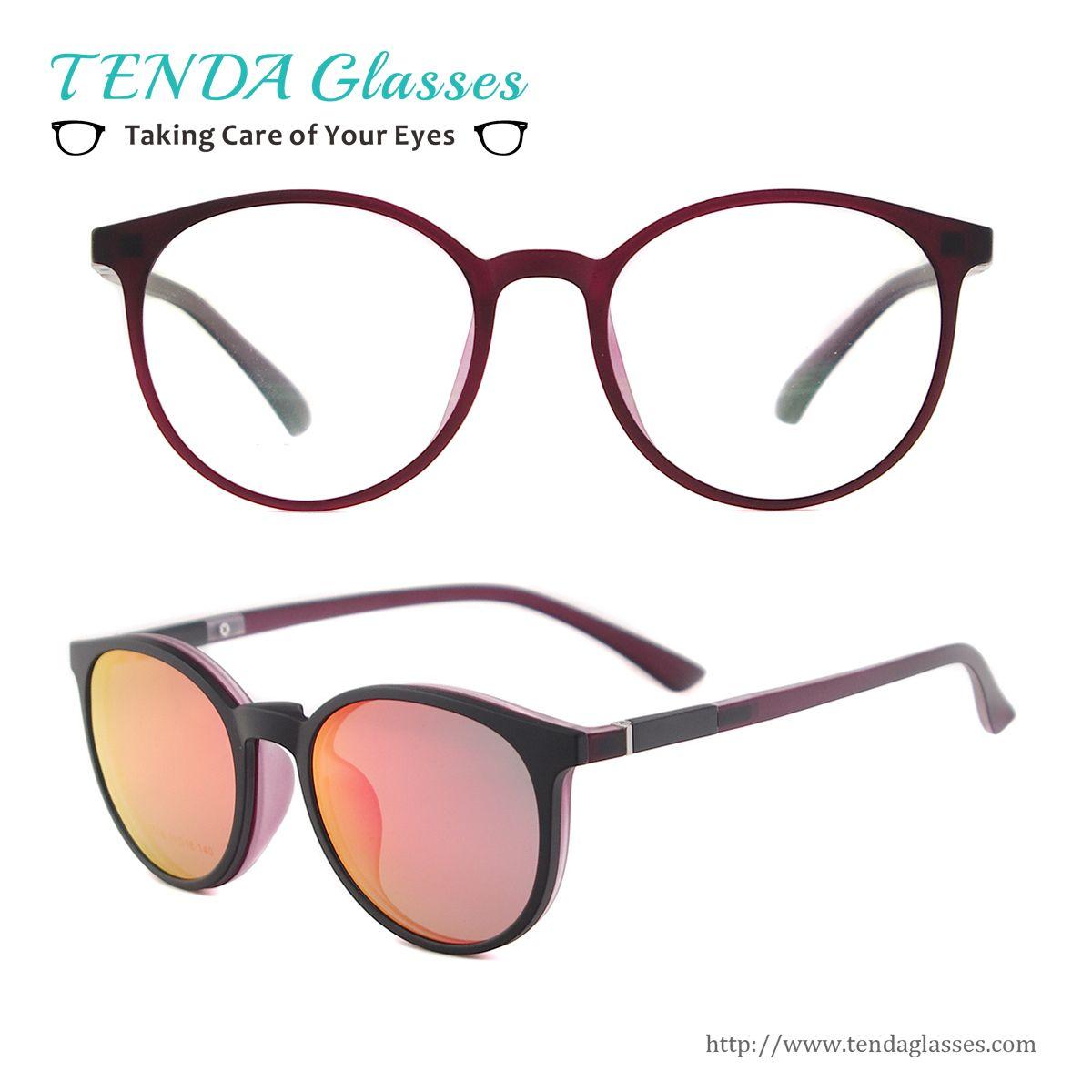 Flexible Plastic Women Round Retro Sun Glasses Polarized Clip On ...
