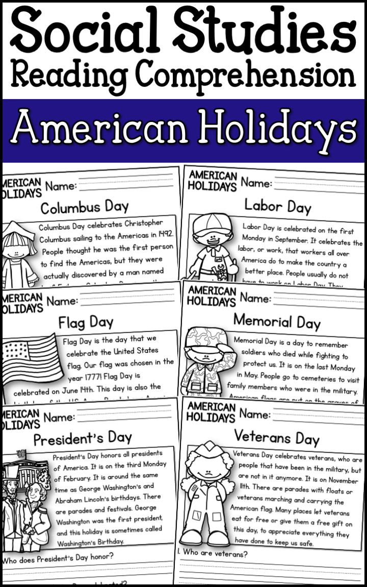 American Holidays Reading Comprehension Passages K 2 A Page Out Of History Holiday Reading Comprehension Social Studies Worksheets Reading Comprehension Passages [ 1150 x 720 Pixel ]