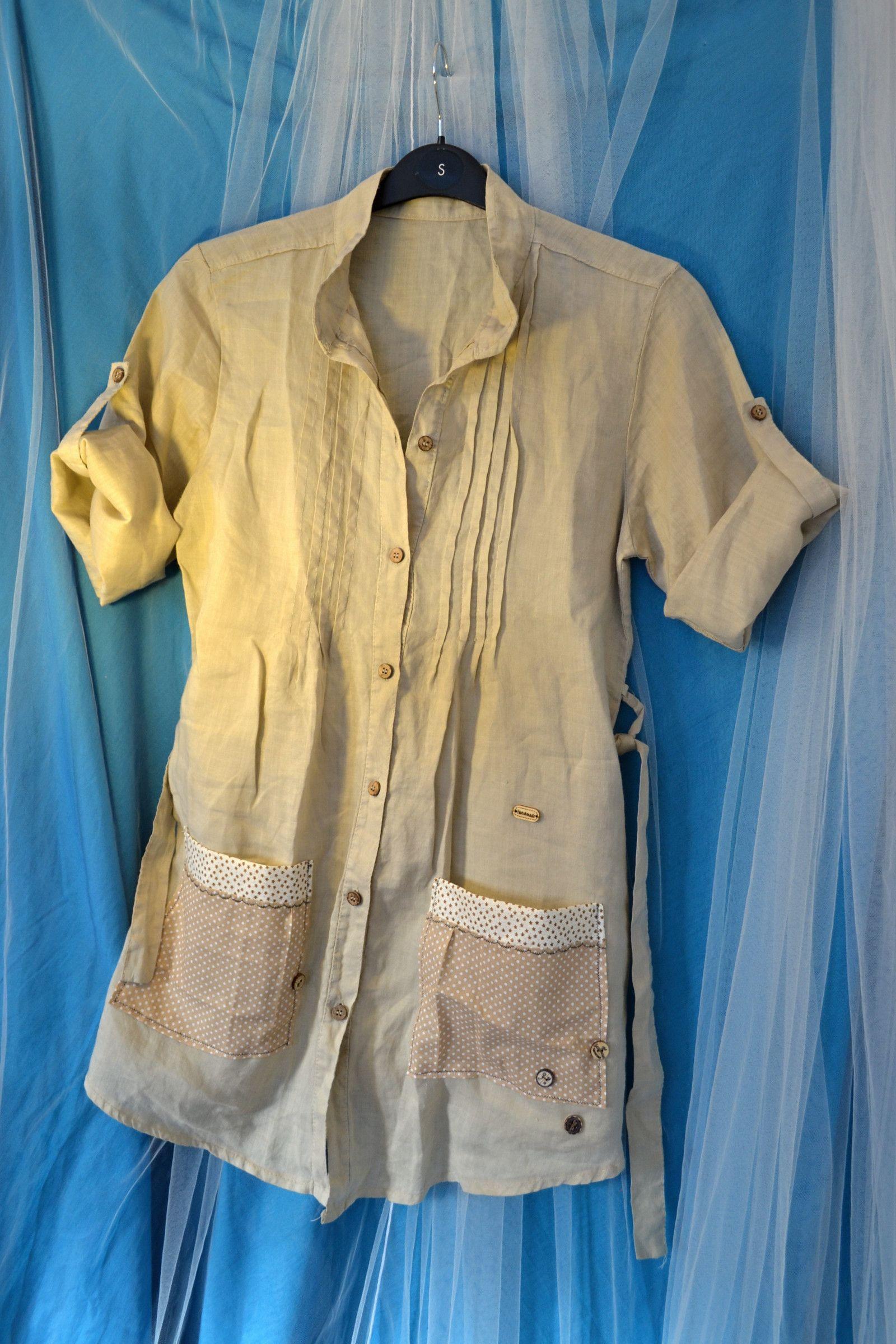 dfeab3ac986 Recyklo+dlouhá+lněná+košile+vel.+M+(38 40)+Recyklo+lněná+košile