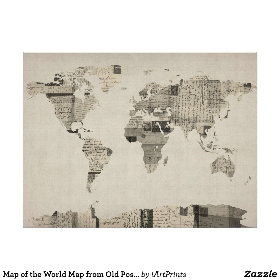 Map of the World Map from Old Postcards Poster | Zazzle.com ... Canvas World Maps For Sale on world maps history, world maps religion, old world map sale, world maps france, world maps software, world map globe sale, world maps games, world maps art, world maps furniture, world maps books,