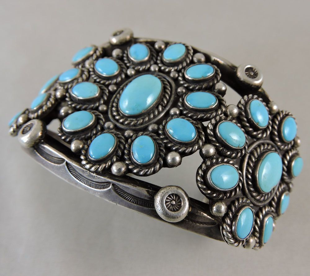 Excellent cluster bracelet with sky blue natural turquoise, mine unknown.