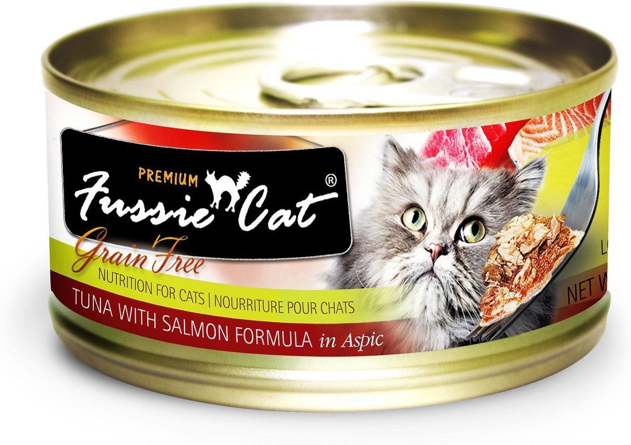 Fussie Cat Wet Food, Cat Tuna and Salmon, 2.8oz can