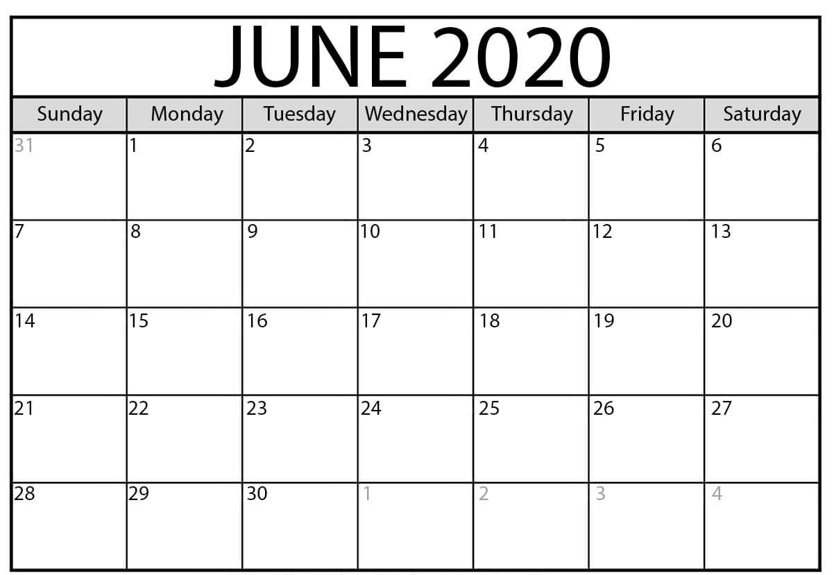 Free Printable June 2020 Calendar Templates With Notes January