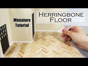 DIY Miniature - Hardwood Floors (Herringbone) #dollhouseminiaturetutorials