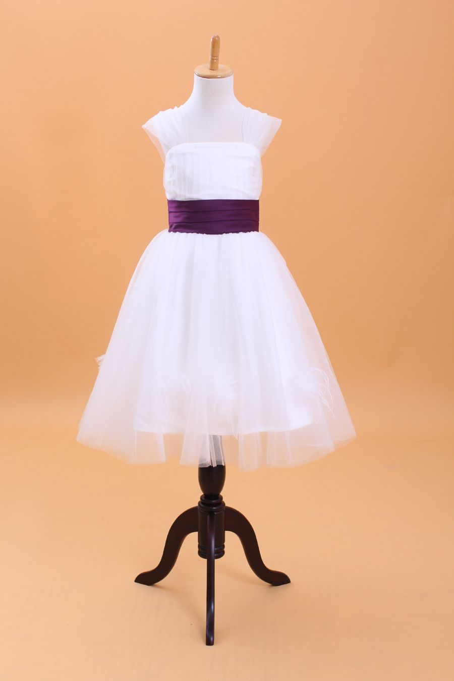 c3afc4f54a8 High neck A-line sleeveless tulle dress for flower girl
