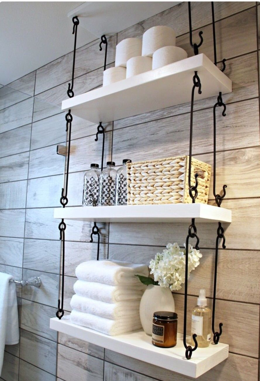 Wrought iron shelves bathroom - 31 Gorgeous Rustic Bathroom Decor Ideas To Try At Home