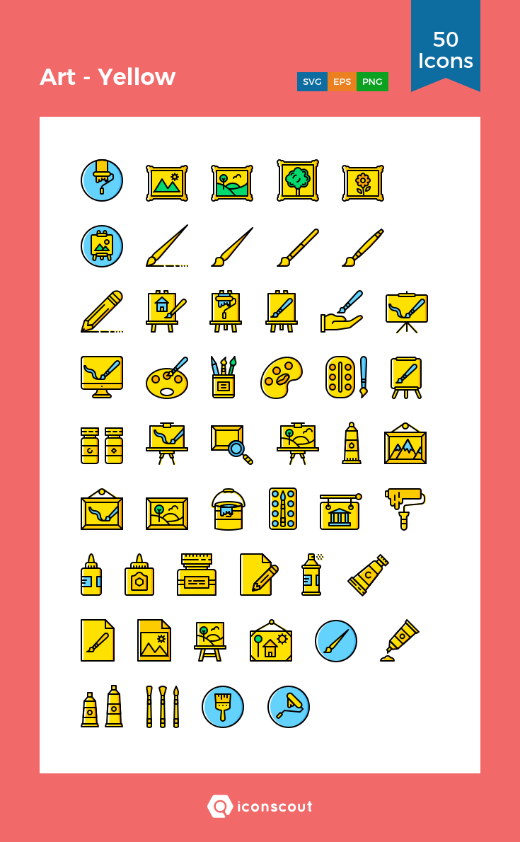 Art Yellow Icon Pack 50 Filled Outline Icons Icon Art Icon Pack