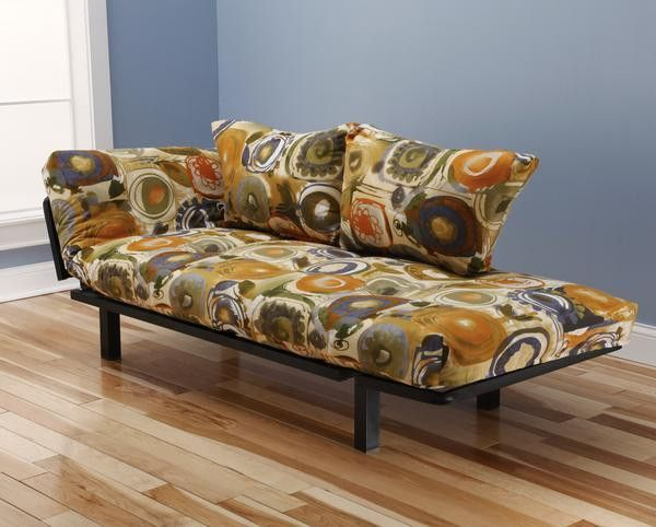 Hennepin Contemporary Daybed Futon Lounger with Black Metal Steel ...