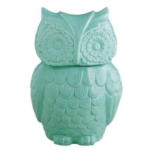 Aqua Blue Ceramic Owl Cookie Jar / Kitchen Storage Container for Baking Supplies