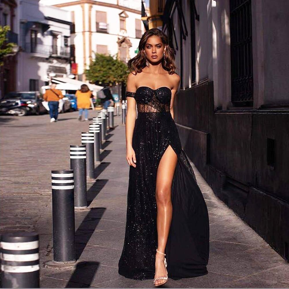 Nicolette Off Shoulder Glitter Maxi Dress Black Prom Dresses Elegant Dresses For Women Party Dresses For Women [ 1000 x 1000 Pixel ]