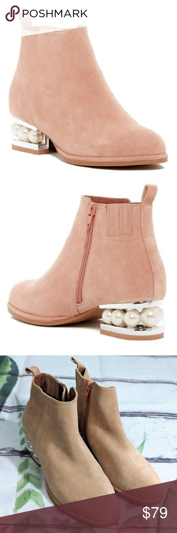 312bce0c3ac Jeffrey Campbell Orlando Pearl Booties Boots 5.5 Jeffrey Campbell Orlando  suede blush nude pearl embellished silver block heel. Rare smaller size!!
