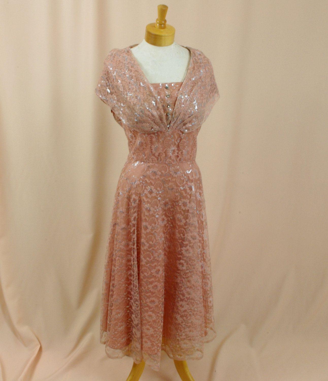50s wedding dress lace  s Dress  Peach Dress  Lace Party Dress  s Cocktail Dress