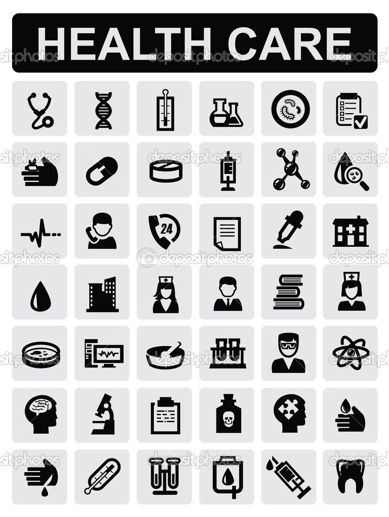 Medical icons white on black vector Medical icon, Icon