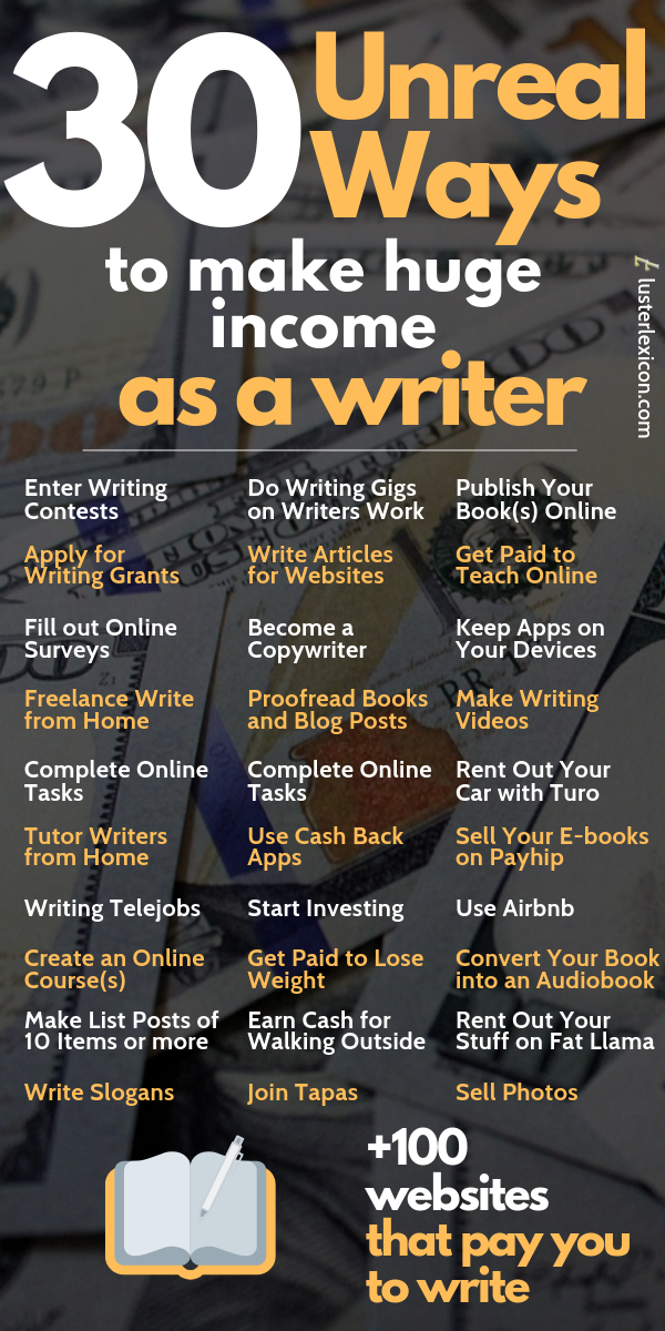 30 Unreal Ways to make Huge Income as a Writer