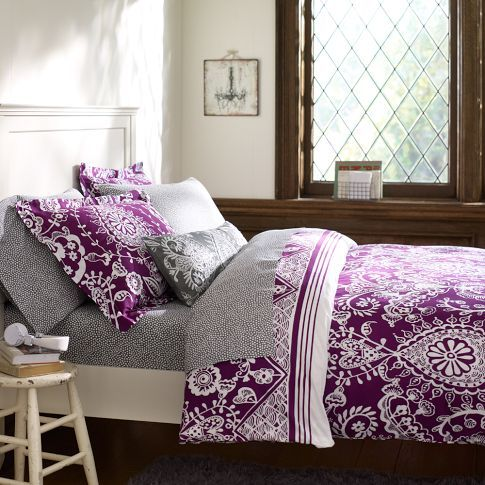 Natalia Duvet Cover & Sham | PBteen. I really love this pattern in this purple color! It doesn't look too tacky. I don't like the other colors as much.