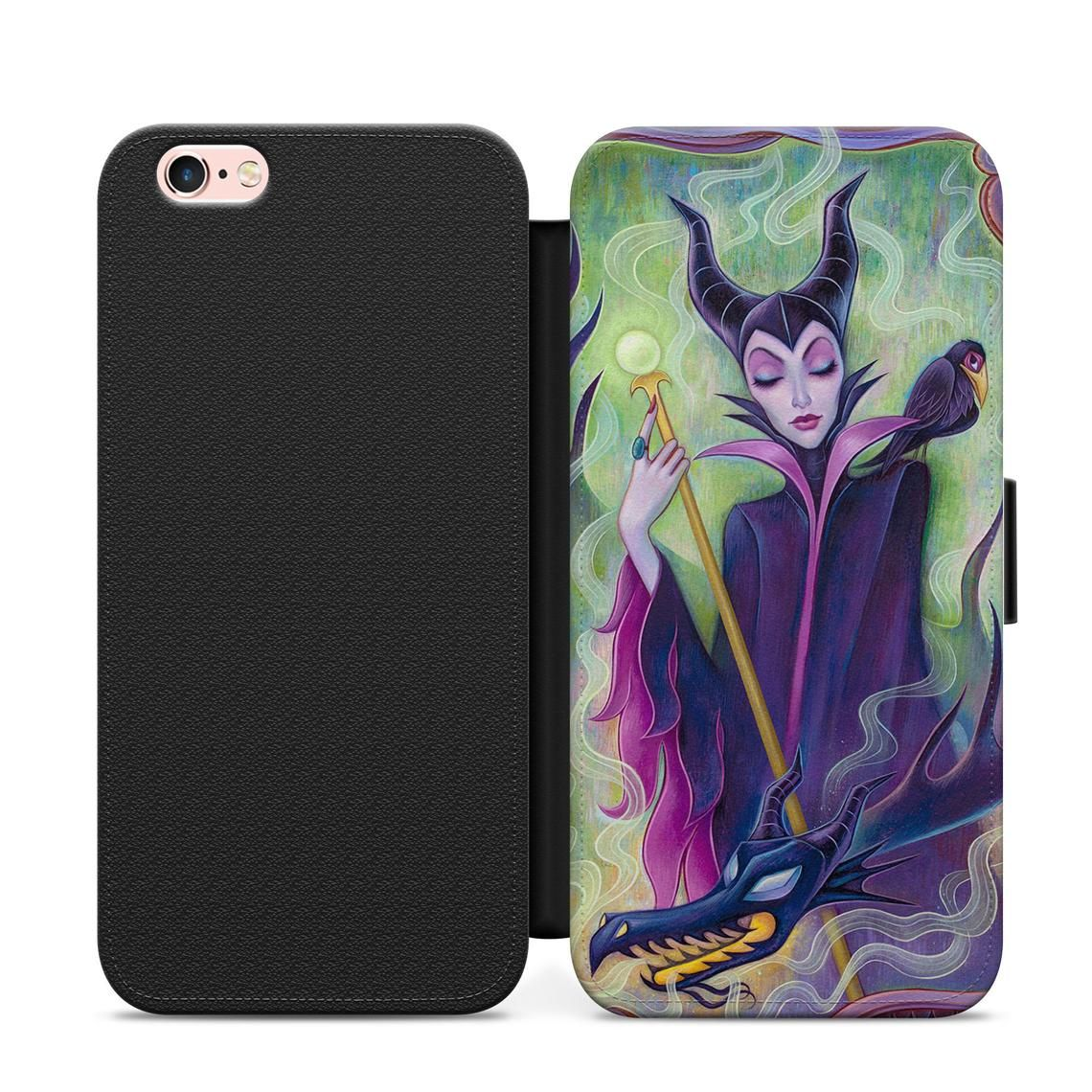 new products dd76b c2837 Disney Maleficent leather wallet flip phone case cover for | Etsy ...