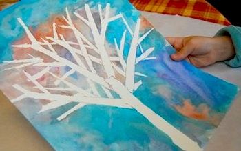Winter Tree Watercolor Tape Resist Winter Crafts For Kids