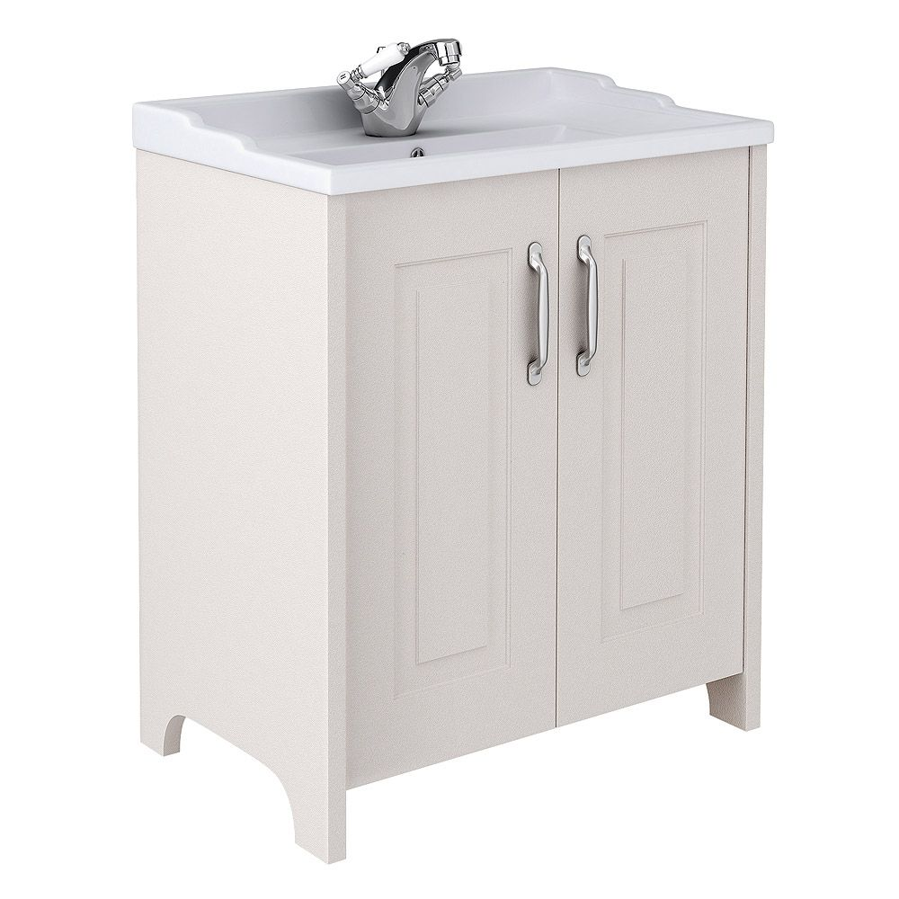 Shop The Devon Cashmere 800mm Traditional 2 Door Vanity Unit With Ceramic  Basin. Perfect For
