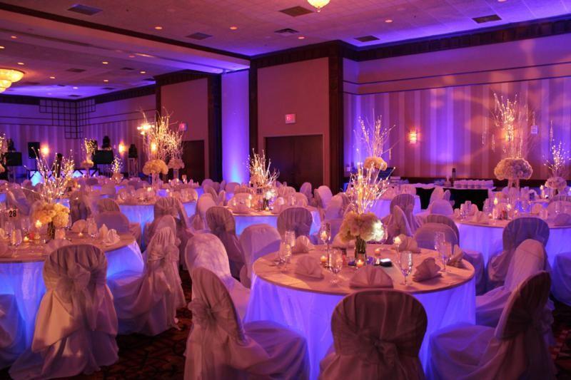 Love The Blue Tableuplighting For This Wedding Reception Rentmywedding Diy Receptioninspiration Wedding Chairs Wedding My Wedding