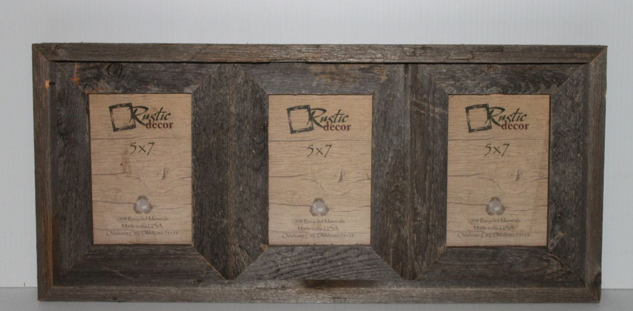Rustic Barn Wood 3 Opening Collage Picture Frame   Rustic ...