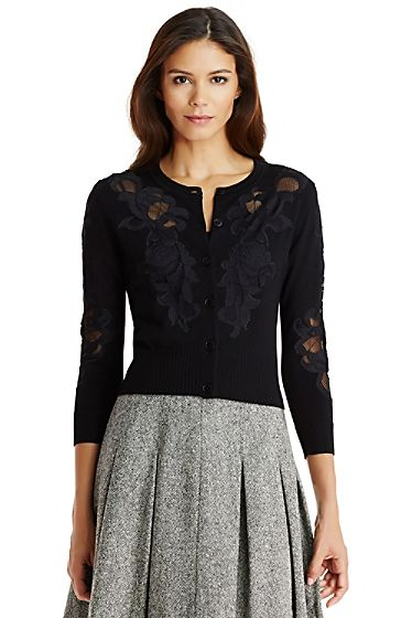 DVF Cooper Lace Accent Cardigan In Black | Window Shopping ...