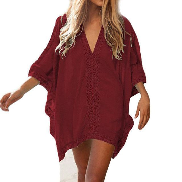 b613b3d46765b 2017 Beach Cotton Cover-Ups V-neck Tunic Sarong Bathing Suit Coverups  Bikini Cover Up Women Swimsuit Beachwear 02-0186