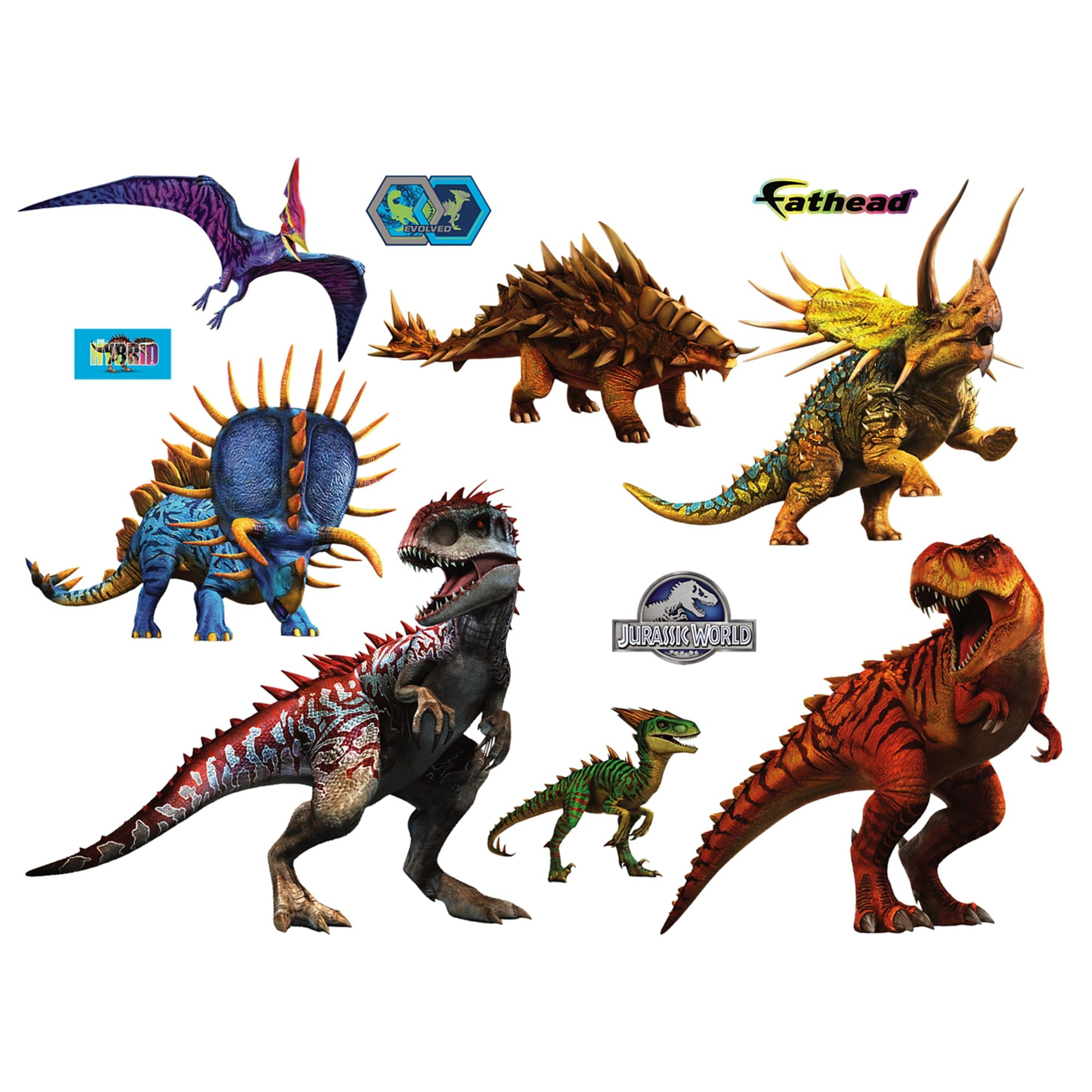 Jurassic World Hybrid Dinosaurs Collection X Large Officially Licensed Removable Wall Graphics Jurassic World Hybrid Dinosaur Wall Stickers Jurassic World