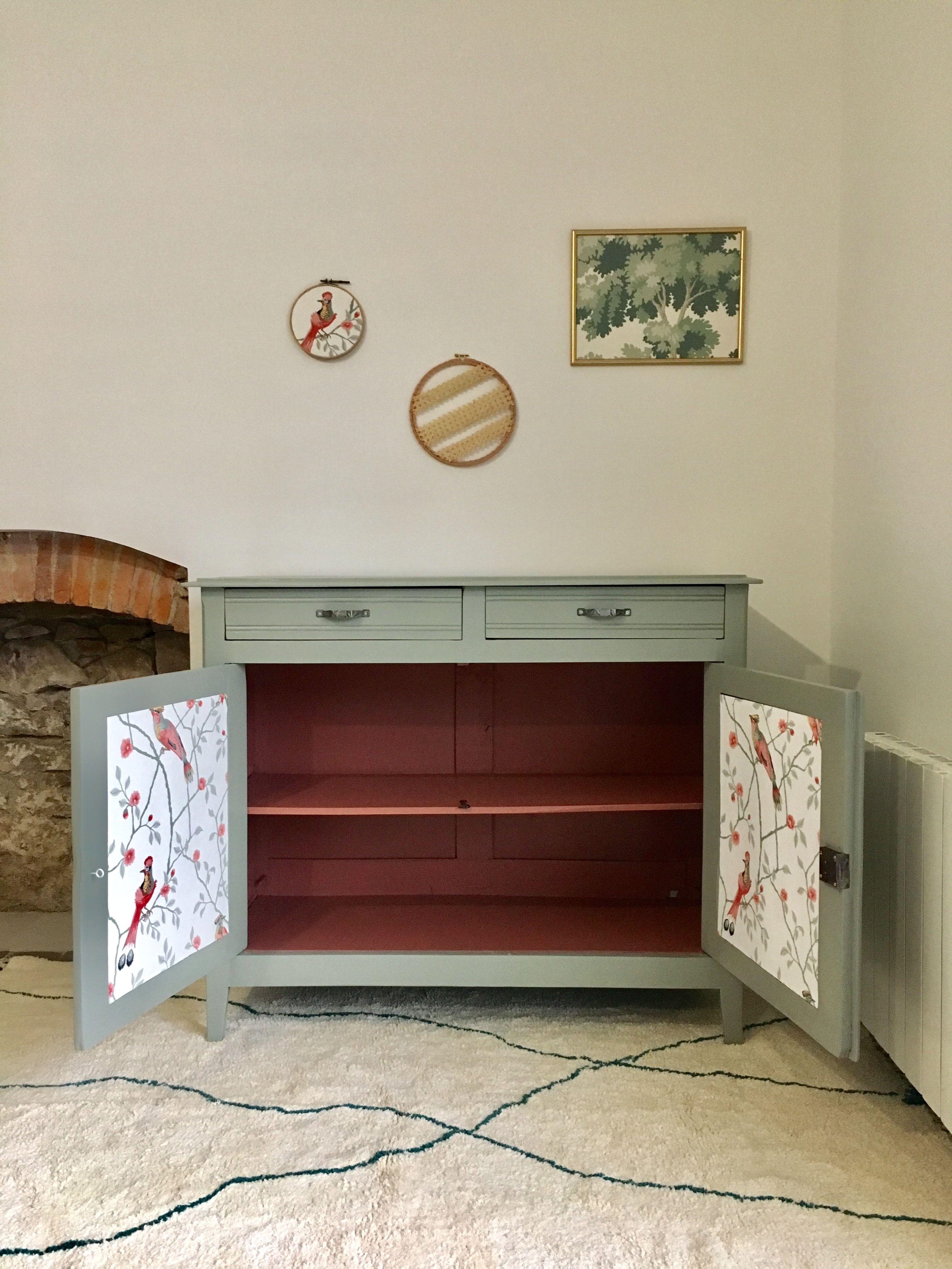 Buffet Vintage Relooke Vert De Gris Et Blush Terracotta Papier Peint Oiseaux Relooking Meuble Mobilier De Salon Restaurer Meuble