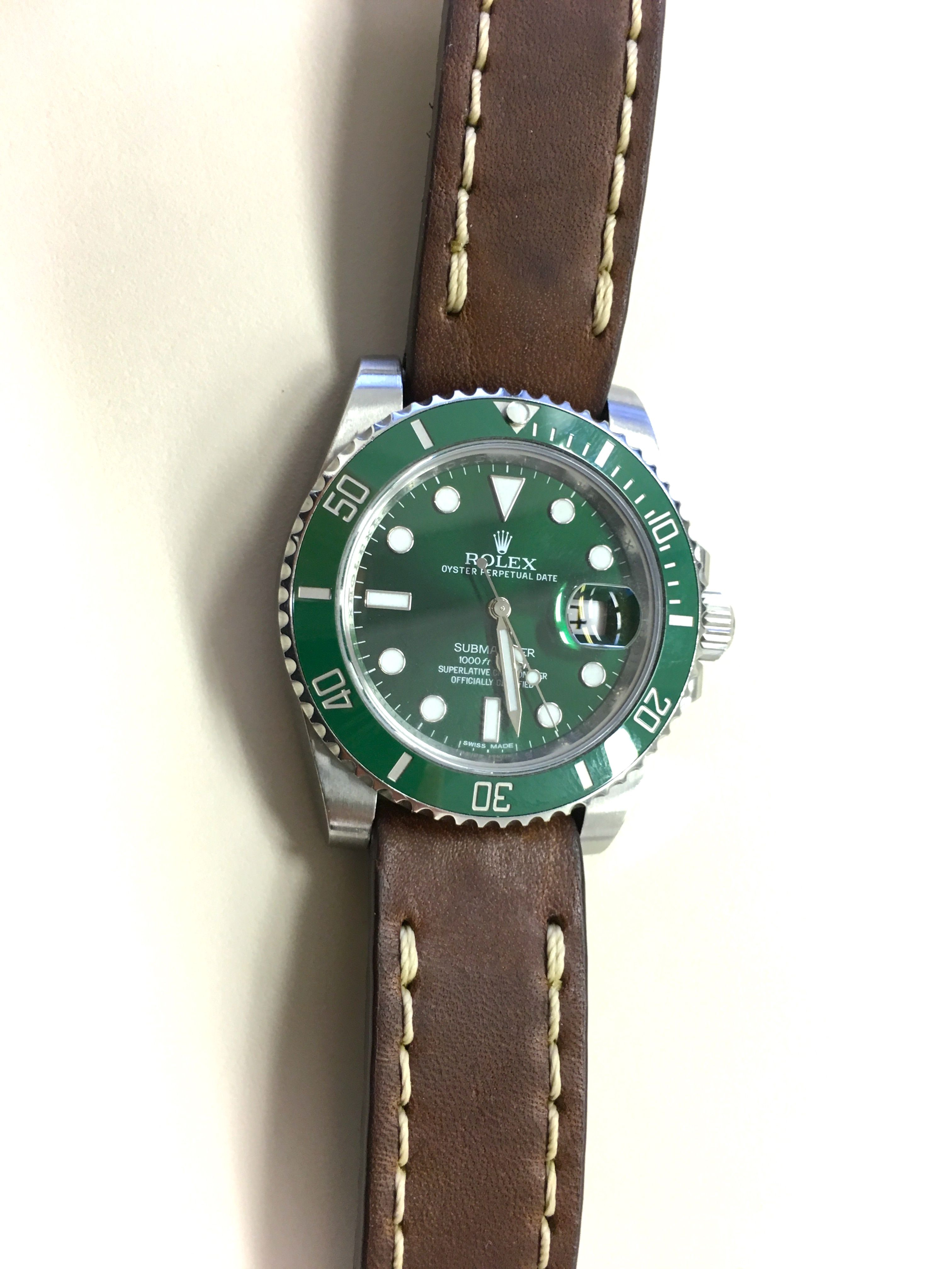 Green Rolex Submariner with Leather Strap
