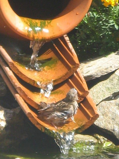 Great Idea Bird Bath Rustic Bird Baths Roof Tiles