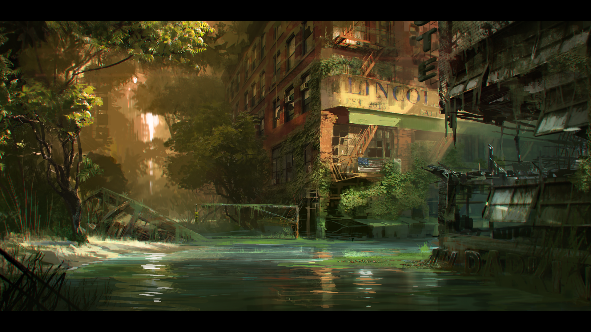 Crysis 3 river concept art playstation lifestyle illustration digital cgi matte - The beauty of an abandoned house the art behind the crisis ...