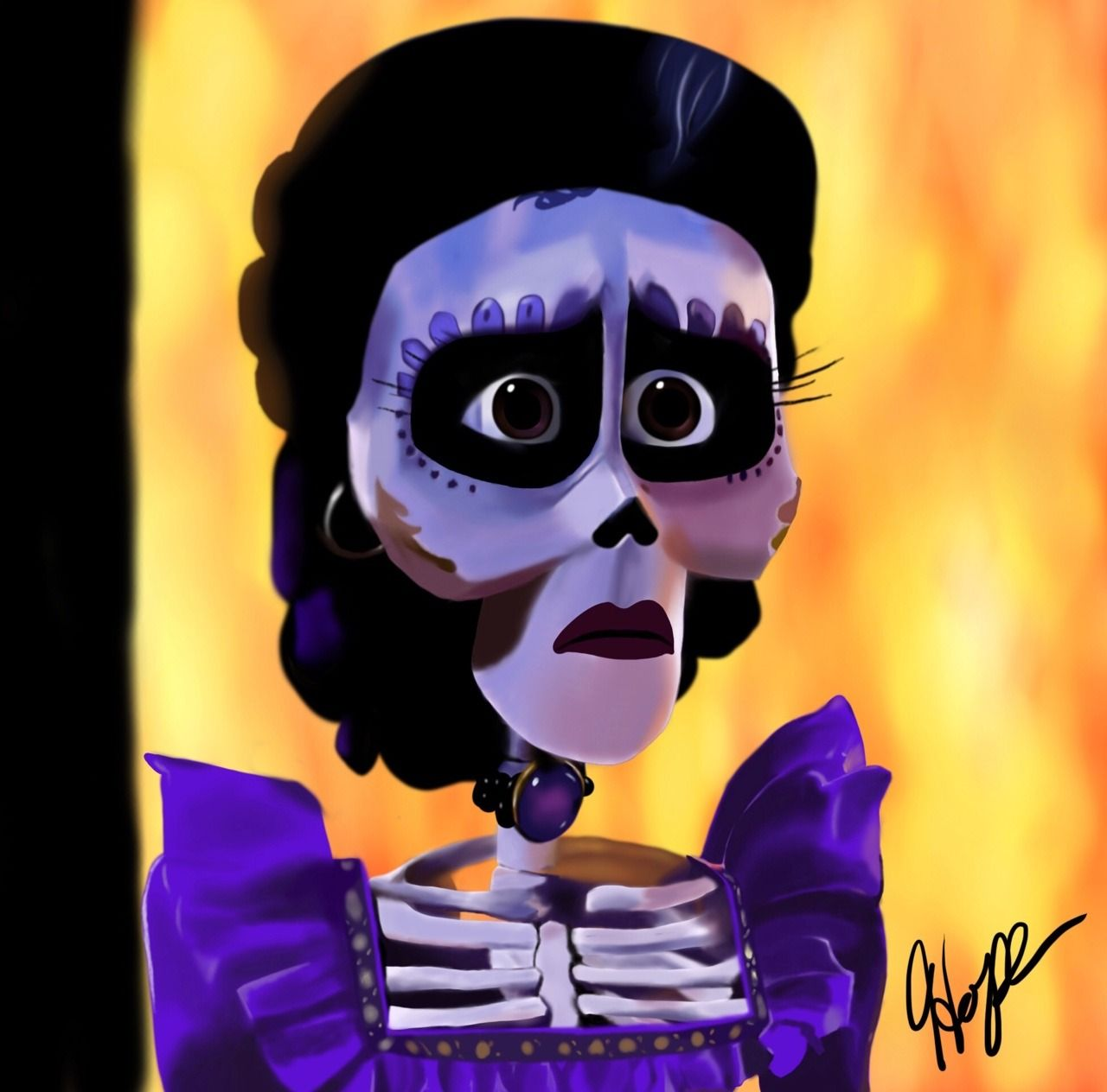 """hopehite: """"Time Lapse Video of the drawing process x here x Happy Dia de Muertos and Halloween everyone! Earlier this year I wanted to challenge myself by painting a picture of one of my favorite Imelda facial expressions. This piece took me 10 hours..."""