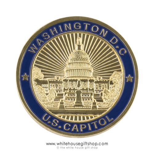Coin United States Capitol Blue And Gold Great Seal Of The United States On Reverse Challenge Commemorative Coin Premium Copper Alloy Core Baked Enamel Commemorative Coins Commemoration United States Capitol