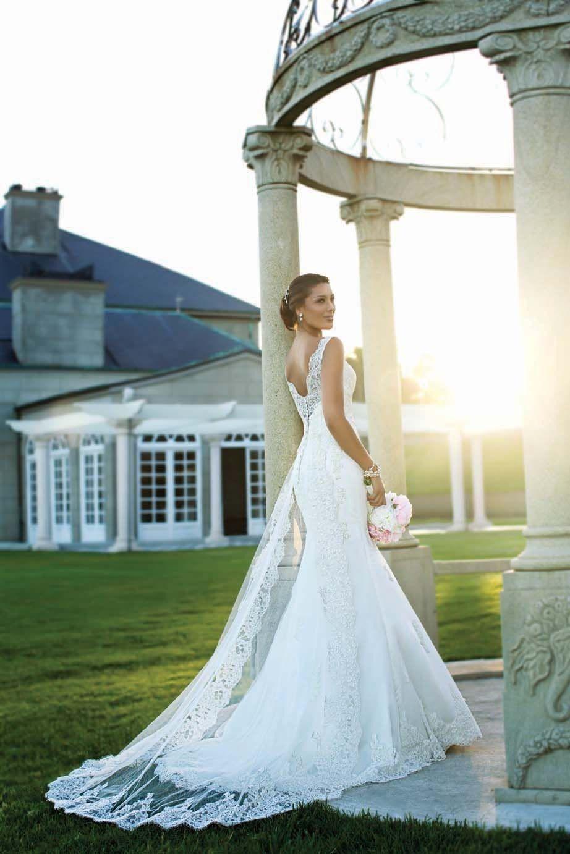 Stunning lace long train wedding gowns pinterest wedding