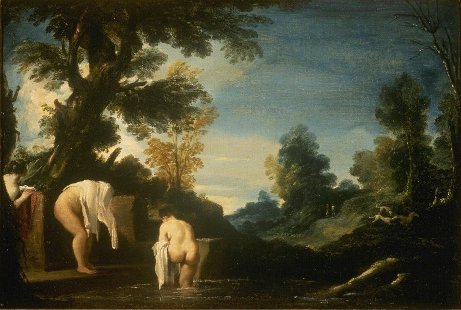 Guercino - Paesaggio con donne bagnanti 1618ca