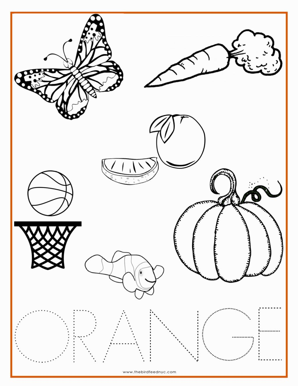 Color Orange Coloring Pages Boyama Sayfalari Renkler Faaliyetler