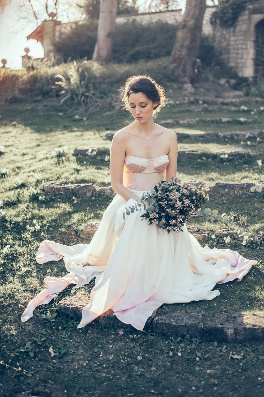 A dip dyed wedding dress by jessica turner designs layers