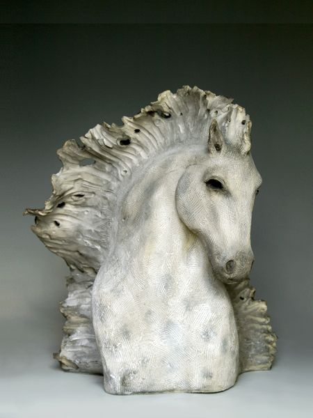 Windhorse: Zonda  --  14 x 14 x 10 inches.  --  Porcelain/stoneware(cone 5). Mason stain pigments and underglazes, clear glaze wash  --  Sho...