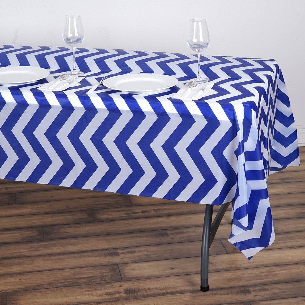 54 X 108 Royal Blue Disposable Chevron Plastic Vinyl Rectangular Tablecloth In 2020 Vinyl Tablecloth Plastic Table Covers Table Covers