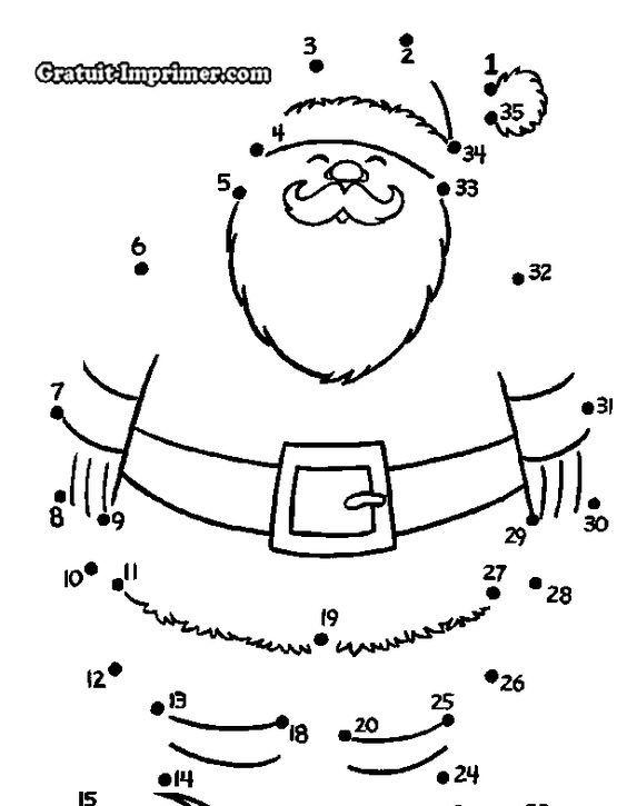 Puzzle Pere Noel Jeu de Père Noël : JEU POUR ENFANT RELIER LESPPOINTS DESSIN pERE